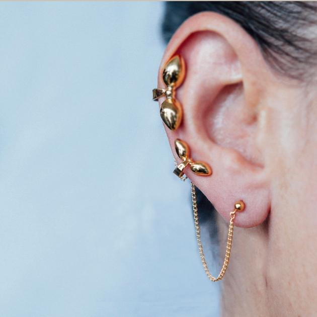 Donostia earrings dual bow - gold-plated